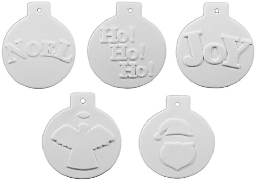 New Bisque - New Hampshire Craftworks Christmas Ball Ornament Collection Number 1 - Set of 5 - Host Your Own Ceramic Painting Party