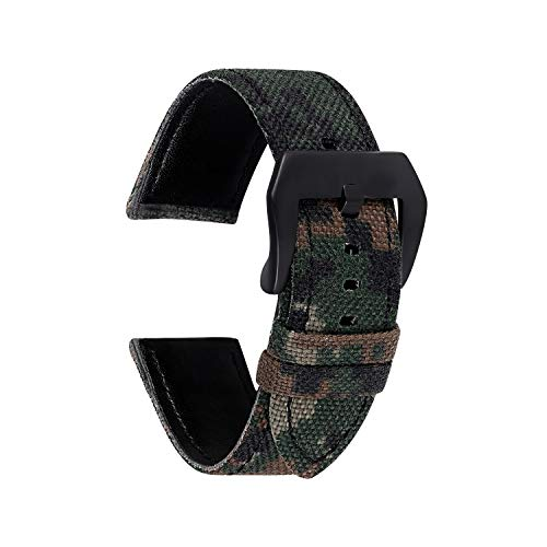 Straps Guy 22mm Cordura Canvas Quick Release Watch Band Strap, Lorica Leather Inner Liner, Stainless Steel Buckle Ballistic Nylon Camouflage Pattern in Dark Camo