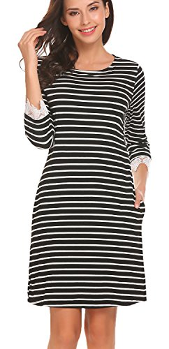 3 4 sleeve black and white striped dress - 1