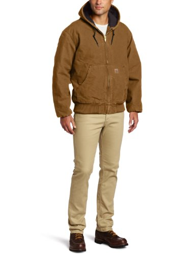 Carhartt Men's Big & Tall Quilted Flannel Lined Sandstone Active Jacket J130, Brown,X-Large Tall