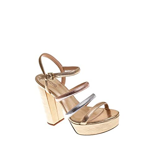 918f198ef1c 85%OFF Michael Kors Nantucket Leather Platform Sandal in Pale Gold Silver