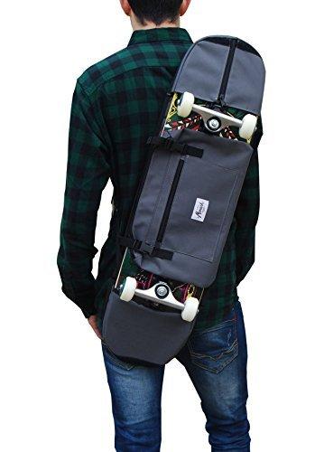 Backpack, shoulder bag for 7.5 and 8.5 inches skateboard. Grey