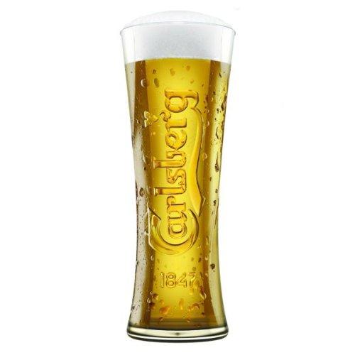 Carlsberg Reward Tall Pint Glasses CE 20oz / 568ml - Set of 4 | 57cl Carlsberg Glasses, Branded Beer Glasses, Nucleated Glasses Arc International