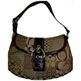 Women's Coach Purse Handbag Soho Sig Pwk Flap F12316 Brown Signature