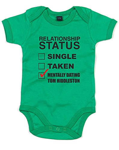 Mentally Dating Tom Hiddleston, Printed Baby Grow - Kelly Green/Black/Red 12-18 Months ()