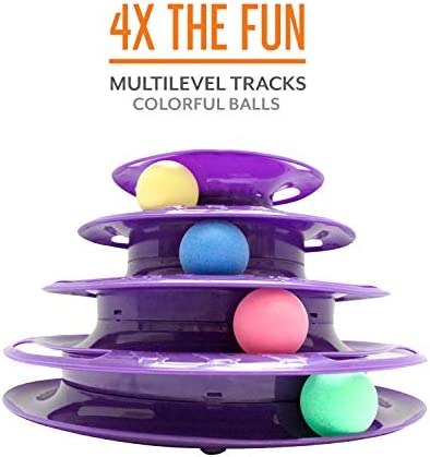 Purrfect Feline Titan's Tower - New Safer Bar Design, Interactive Cat Ball Toy, Exerciser Game, Teaser, Anti-Slip, Active Healthy Lifestyle, Suitable for Multiple Cats 5