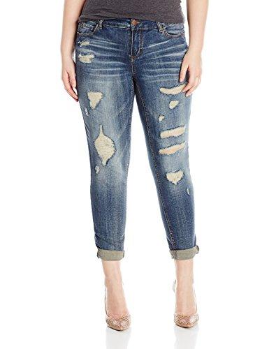[dollhouse Women's Plus Size Destructed Roll up Skinny Jeans, Blizzard Blue, 20W] (Destructed Womens Skinny Jeans)