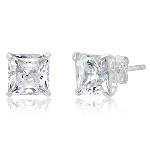 (14k Solid White Gold PRINCESS Stud Earrings with Genuine Swarovski Zirconia | 3.0 CT.TW. | With Gift Box)