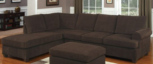 Poundex F7135 Chocolate Corduroy Microfiber Fabric Sectional Sofa