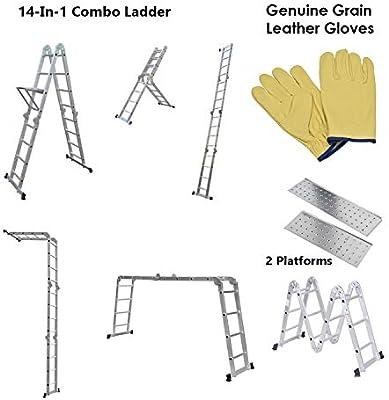 Gabz - Escalera plegable de aluminio (4,7 m, resistente, extensible): Amazon.es: Bricolaje y herramientas