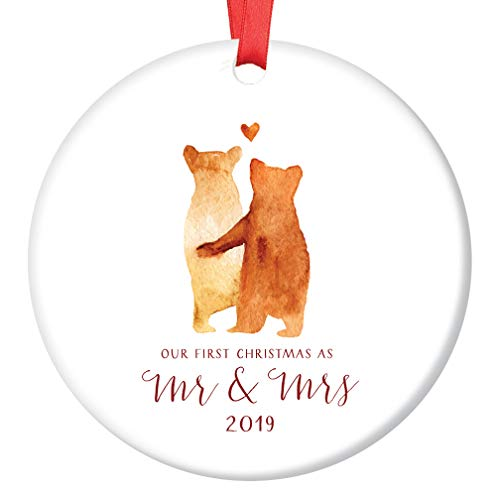 (First Christmas Mr & Mrs Ornament 2019 Adorable Newlywed Love Bears Ceramic Keepsake Gift for Husband Wife Partner 1st Holiday Married Couple 3