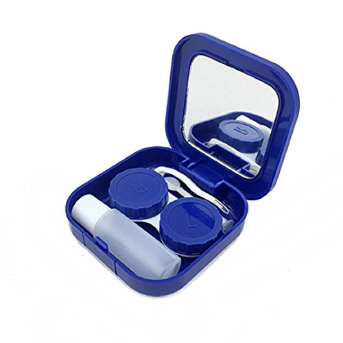 Polytree Portable Travel Contact Lens Case Box Set Cleaning Holder Soak Storage (Square Blue)