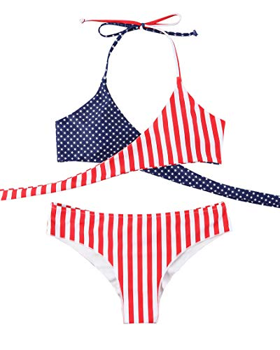 MOSHENGQI Women Front Cross Halter American Flag Push up Bikini Set 2 Piece Cute Swimsuits (X-Large, USA Flag)