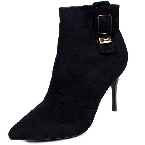 KHSKX-La Moda Di Fibbia Martin Stivali Le Scarpe Con Inverno Bene Scamosciato Scarpe Con Il Tacco Degli Stivali. 35 nero