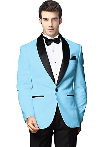 GMW Mens Custom Made Groomsman Tuxedo Suit Jacket Pants Set Black Shawl Lapel Light Blue 42R