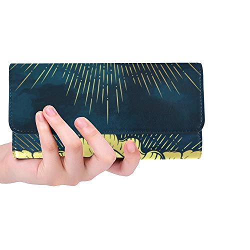 Unique Custom Gold Cherub Cute Winged Curly Smiling Women Trifold Wallet Long Purse Credit Card Holder Case ()