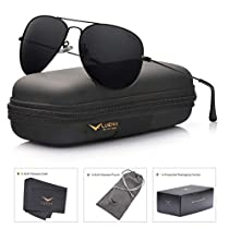 LUENX Aviator Sunglasses Mens Womens Polarized with Case - UV 400 Mirror Rose Red Lens Glod Metal Frame 60mm
