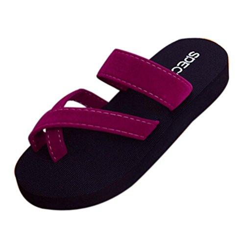 zapatos Verano sandalias flops zapatillas punta LMMVP casual de abierta mujeres de verano plana Mujer Las flip Vino playa Chanclas 4xgqOS5g