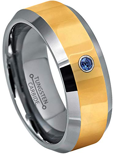0.07ct Blue Sapphire Solitaire Tungsten Wedding Band - 8mm Polished 2-Tone Comfort Fit Tungsten Carbide Wedding Ring - s7.5