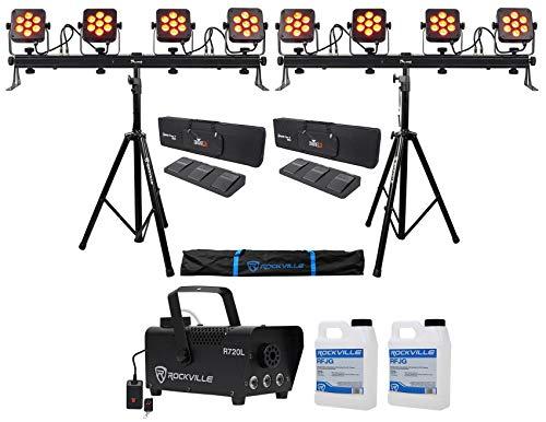(2) Chauvet DJ 4Bar Flex T USB D-Fi Light Bars+Stands+Cases+Foot Switches+Fogger