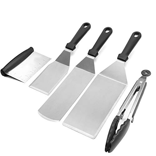 Griddle BBQ Tool Kit Flat Top Grill Accessories 3 Griddle Spatula 1 Griddle Scraper and 1 Tong, 5 PCS Great for Outdoor Camping Flat Top Cooking Stainless Steel Dishwasher Safe ()