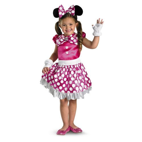 Disguise Disney Mickey Mouse Clubhouse Pink Minnie Shimmer Girls Costume, X-Small/3T-4T (Poka Dot Satin)