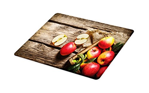 Lunarable Fruits Cutting Board, Box of Apples in On Wood Floor Penal Rusty Organic Nutrition Vitamin Harvesting, Decorative Tempered Glass Cutting and Serving Board, Large Size, Pale Brown Red