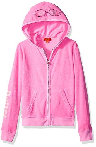 Super Soft Hoodies Butter - Butter Girls' Little Long Sleeve Fleece, Printed Zip Hoodie Cotton Candy, 6