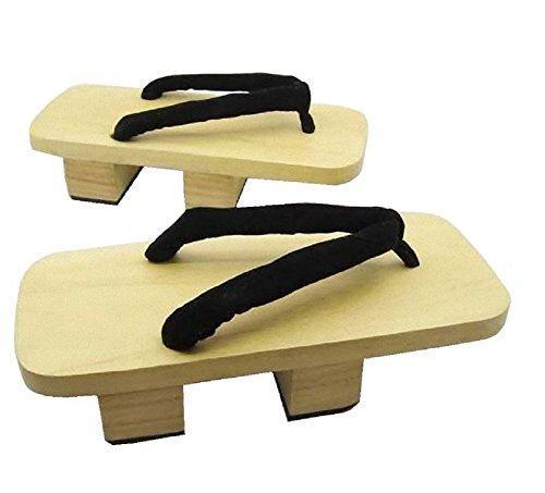 SSJ: Zapatos Tradicionales japoneses Geta [para Hombre de 8 a 10 tamaños] Sandalias de Madera, White2-wood, 10_US