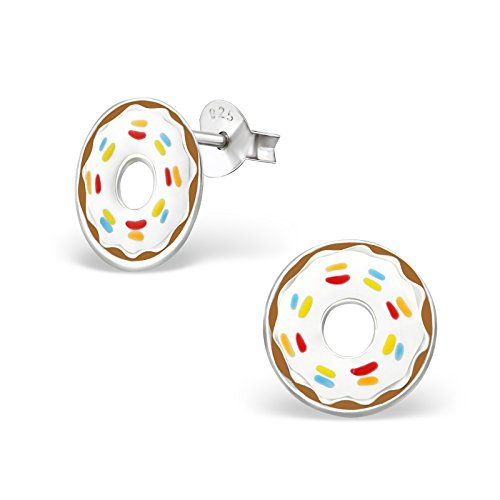 Hypoallergenic Doughnut Stud Earrings for Girls (Nickel Free and Safe for Sensitive Ears) (Beverage Plated Silver)
