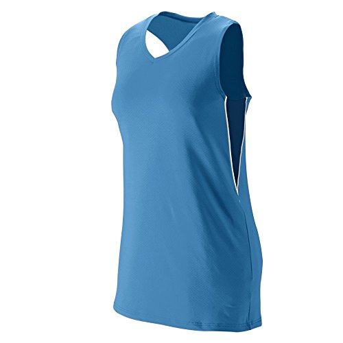 Jersey Racerback Softball (Augusta Sportswear Girls' Inferno Jersey S Columbia Blue/Navy/White)