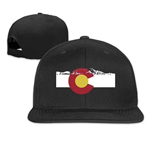 Rocky Mountain Colorado Snapback Hat Solid Flat Bill Baseball Caps Men's Black