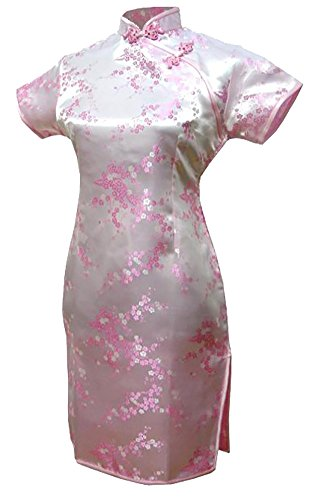 1a567da1ee80 7Fairy Women's Vtg Pink Floral Mini Chinese Evening Dress Cheongsam ...