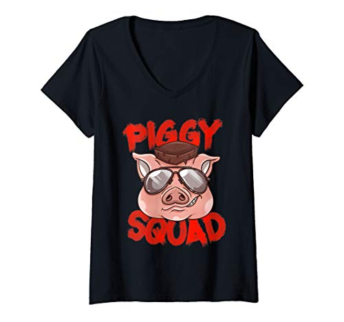Womens Piggy Squad | Cute Pig Farmer Animal Lovers Funny Farm Gift V-Neck T-Shirt