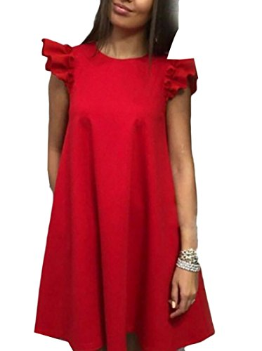 Flutter Round Red Cocktail Women's Jaycargogo Sleeve Mini Summer Neck Dress qUfnwAEI