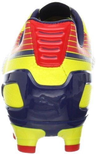 Puma Mens Evospeed 3 Crampon De Football Graphique Ferme-terre Flamboyant Jaune / Médiéval Bleu / Flamme Écarlate