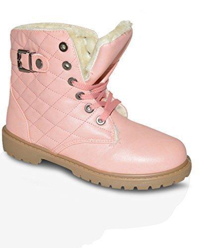 Damen Pelzfutter Winter Warm Knöchel Trainer Stiefel Schuhe Größe UK 3-8 - Pink Hi Top, EU 38