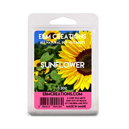 Sunflower - Scented All Natural Soy Wax Melts - 6 Cube Clamshell 3.2oz Highly Scented! (Sunflower Warmer Candle)