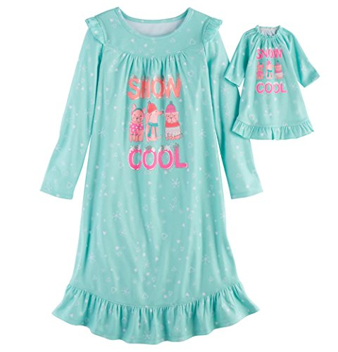 SO Little Girls' Holiday Fleece Nightgown with Matching 18 inch Doll Pajamas (Mint - Snow Cool, XL (14))