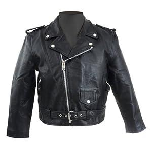 Amazon.com: Kids Classic Motorcycle Black Leather Jacket Basic for ...