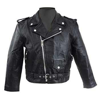 Amazon.com: Kids Classic Motorcycle Black Leather Jacket Basic for ...
