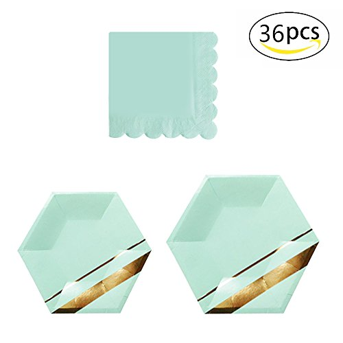 36pcs Party Disposable Dinnerware Sets for Graduation,Birthday Camping Party Tableware Gilding Decoration Green Gold Party Paper Plates and Napkins Eco-Friendly Dinner Paper Napkins Plates(Mint Gree