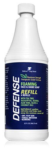 Defense Liquid Foaming Face & Hand Soap 32 Fl Oz Refill with Tea Tree, Eucaluptus, Jojoba, Aloe Vera, Olive & Coconut Oils…