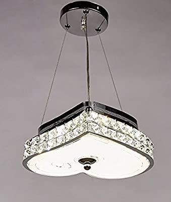 Diamond Life Modern LED Crystal Chandelier Pendant Hanging or Flush Mount Ceiling Lighting Fixture, 3 light colors in one Smart Lamp, #500