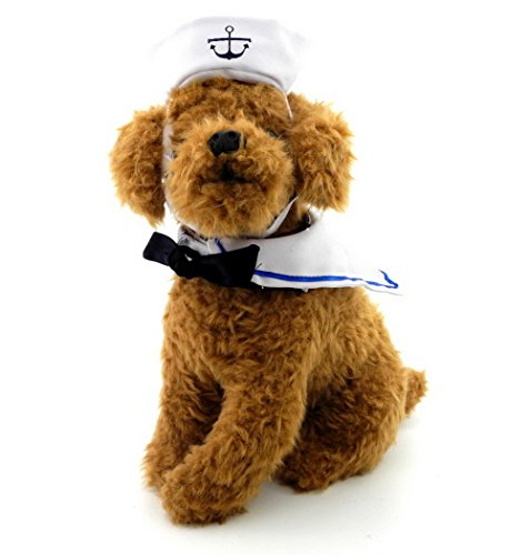 ZUNEA Sailor Pet Cat Navy Hat Costume Halloween Bowtie Collar Adjustable Small Dog Puppy Cosplay Outfits Apparel for Themed Party - Dog Minion Outfit