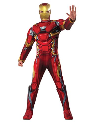 (Marvel Men's Captain America: Civil War Deluxe Muscle Chest Iron Man Costume, Multi,)