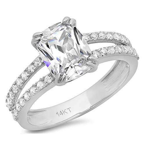 3.47ct Cushion Cut Solitaire with accent Highest Quality White lab created Sapphire Ideal VVS1 D & Simulated Diamond Designer Modern Statement Accent Ring Solid 14k White Gold, Size 6 Clara Pucci