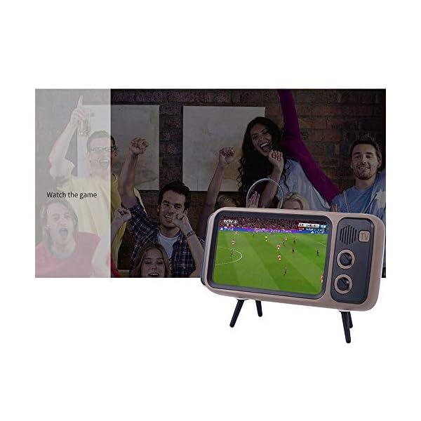 Enceinte Portable Rétro Bluetooth,TV Support de téléphone Portable Haut-Parleur,AUX FM Bluetooth en Option, qualité sonore stéréo 3D 7