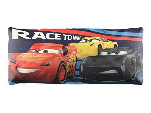 1 Piece Kids 20 x 48 Blue Red Oversize Cars Theme Body Pillow, Geometric Novelty Lightning McQueen Race Cars Disney Pattern Pillows Cushion Couch Sofa Bedroom Bed Headrest, Polyester