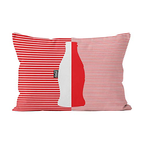 Sokiiy Red White Micro Stripe Coca Cola Unique Hidden Zipper Home Decorative Rectangle Throw Pillow Cover Cushion Case King 20x36 Inch One Side Design Printed ()